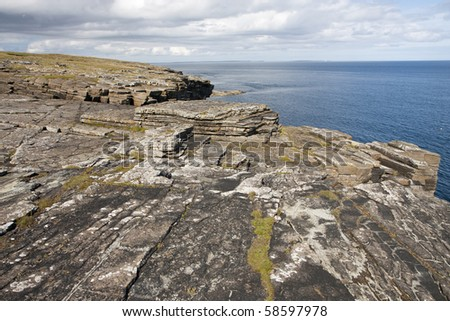 Rocks and cliffs at Orkney islands, Scotland - stock photo