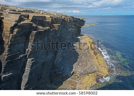 Rocks and cliffs at Orkney islands, Scotland - HDR image - stock photo