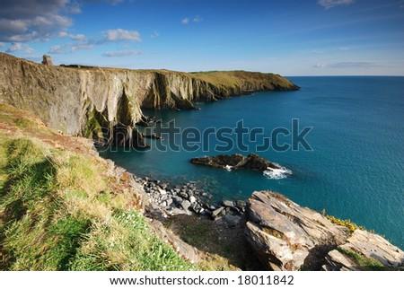 Rocks and cliffs of coast of Atlantic - stock photo