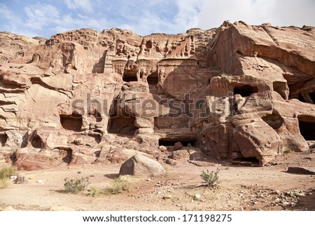 Rocks and graves in rocks. Travel on the territory of the ancient city of Petra, Jordan. 01.01.2014. - stock photo