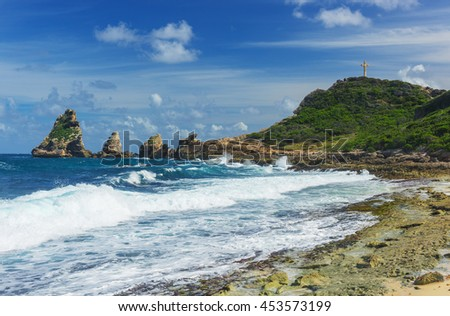 Rocks and hills  of Pointe des Chateaux, the most Eastern point of French island  of Guadeloupein the Caribbean - stock photo