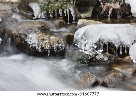 Rocks and Ice to Winter - stock photo
