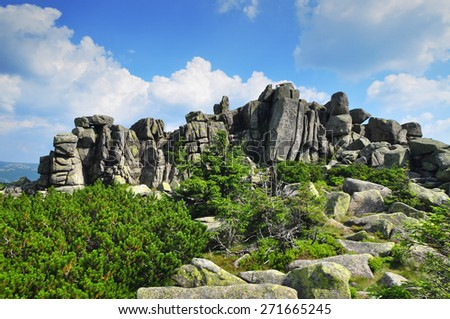 Rocks and Landscape of Giant Mountains, Poland - stock photo