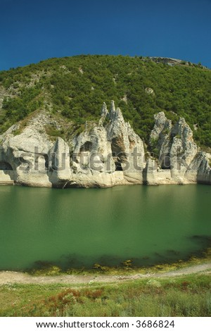rocks and river - stock photo