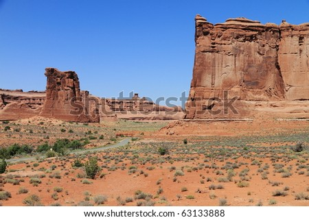 rocks and road at Arches National Park - stock photo