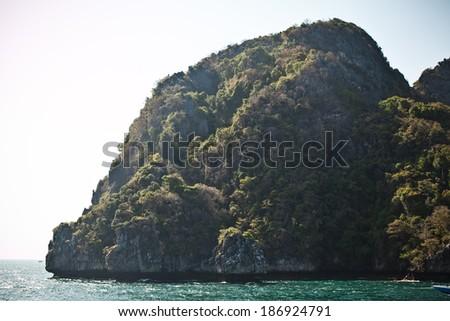 rocks and sea landscape on island in Thailand, Phuket - stock photo