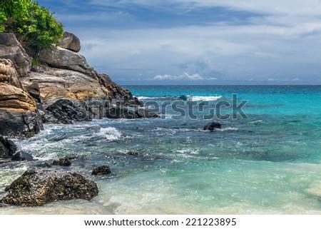 Rocks and sea on the island of Racha - stock photo