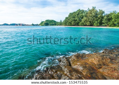 Rocks and sea with blue sky in Chonburi, Thailand