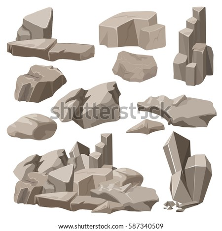 Rocks and stones elements collection set.  illustration.