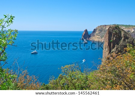 rocks covered forest and sea with yacht