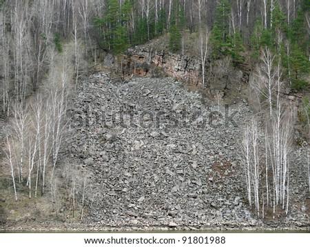 Rocks in Porogi Village, Satka, Chelyabinsk area, Russia. - stock photo