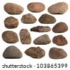 Rocks isolated on white - stock photo