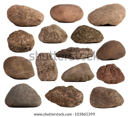 Rocks isolated on white - stock photo