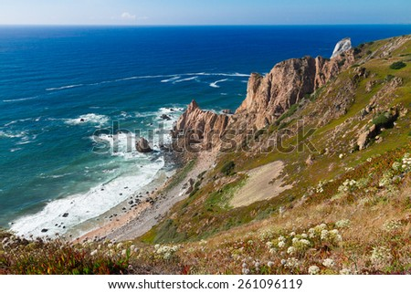 rocks of Cabo da roca and Atlantic ocean at summer day, most western part of Europe, Portugal - stock photo