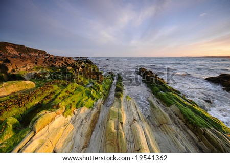 Rocks of coast of Atlantic - stock photo