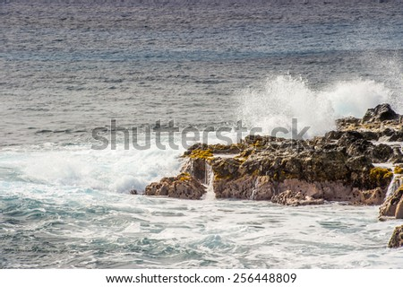 Rocks of the coast of the Easter Island, Chile - stock photo
