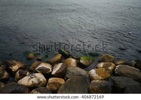Rocks on baltic seaside - stock photo