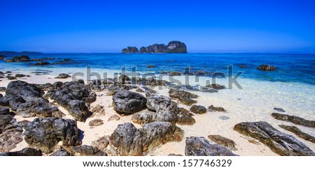 Rocks on the beach in Tropical sea at Bamboo Island Krabi Province Southeast Asia Thailand