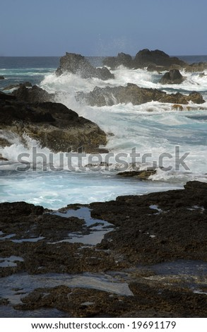 rocks on the coast with ocean waves