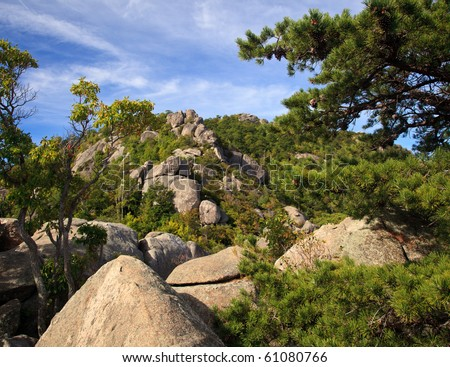 Rocks over valley in the Shenandoah on a climb of Old Rag - stock photo