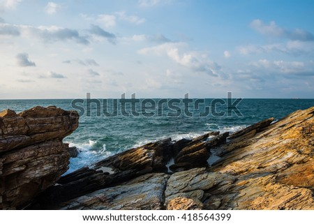 Rocks , sea and blue sky in Thailand. - stock photo