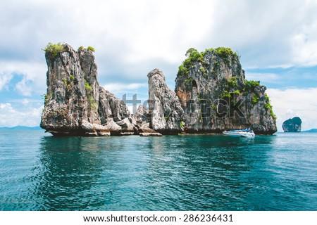 Rocks , sea and blue sky,Koh Tao, Thailand - stock photo