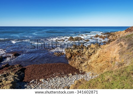Rocks, stones, and unusual geological formations, waves crashing on a rocky beach, with seaweed and kelp, along the rugged Big Sur coastline, California Central Coast, near Cambria CA. - stock photo