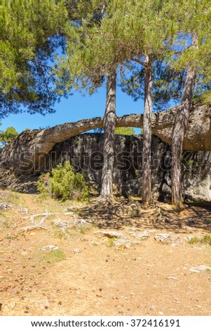 Rocks with capricious forms in the enchanted city of Cuenca, Spain - stock photo