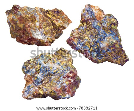 Rocks with mineral veins (mainly copper) isolated on a white background - stock photo