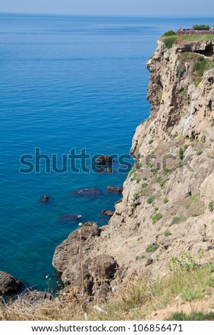rocks with sea - stock photo