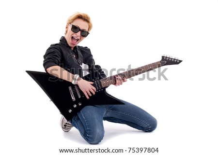 Rockstar playing a electric guitar isolated in white - stock photo