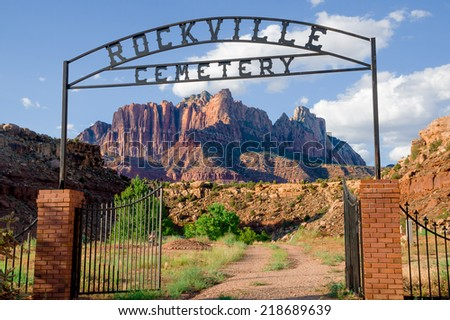 rockville cemetery in zion national park utah with beautiful landscape in the background - stock photo
