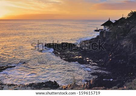 Rocky Arambol. Palolem beach in Goa India - stock photo