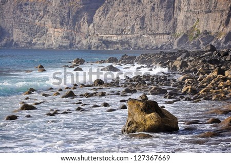 Rocky Atlantic ocean coast of the Los Gigantes, Tenerife, Canary islands, Spain