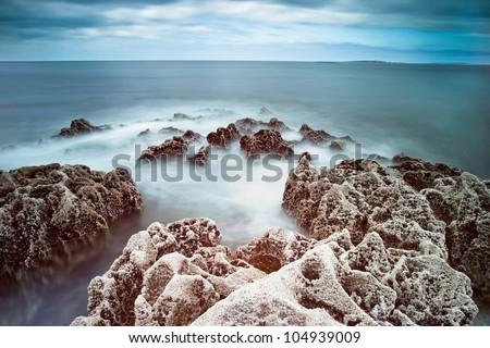 Rocky Atlantic ocean scenery in Ireland. - stock photo