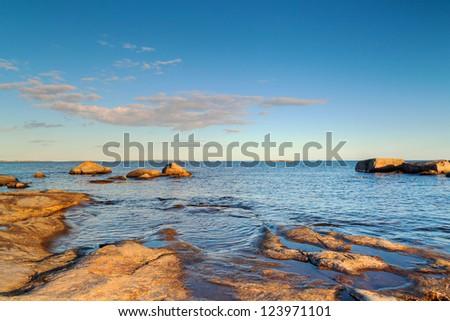 Rocky Baltic Sea in Sweden - stock photo