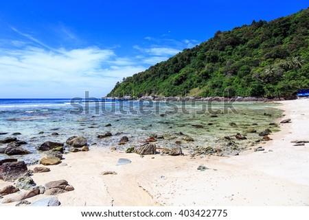 Rocky beach at sunny day in Phuket, Thailand - stock photo