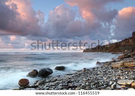 Rocky beach in Estonia - stock photo