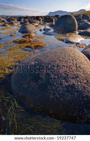 rocky beach, Lofoten Islands, North Norway - stock photo