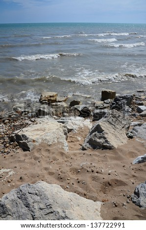 Rocky Beach on Lake Michigan - stock photo