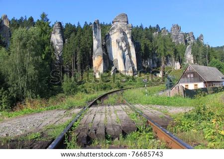 rocky city - stock photo