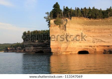 Rocky Cliffs on Lake Superior Shoreline - stock photo