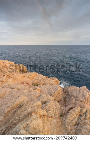 Rocky coast at the Spanish Costa Brava, Catalonia, in the warm evening light