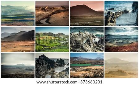 rocky coast in Lanzarote - stock photo