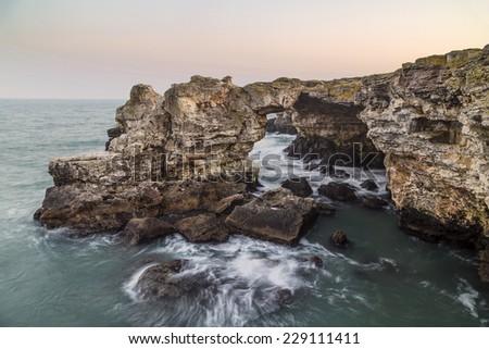 Rocky coast near Tyulenovo, Bulgaria - stock photo
