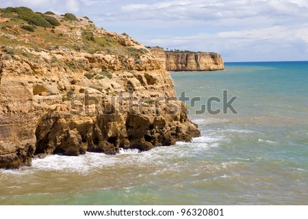 rocky coast of algarve, the south of portugal