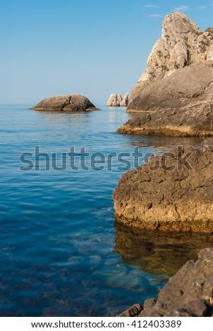 rocky coast of Black Sea. The peninsula of Crimea Ukraine - stock photo