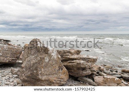 Rocky coast of Gotland, island in the Baltic Sea in Sweden. - stock photo