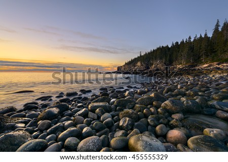 Rocky Coast of Maine in Autumn - stock photo