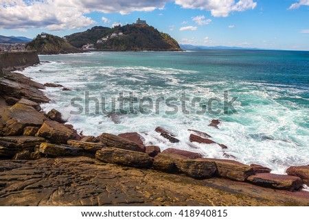 Rocky coast of San Sebastian (Spain) - stock photo
